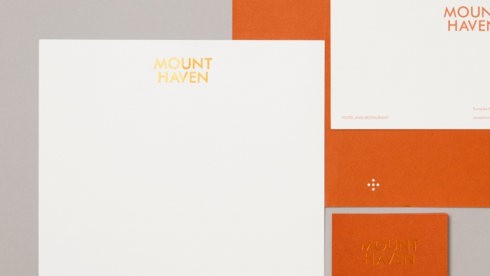 A selection of stationery for Mount Haven Hotel, all with copper foil blocking.