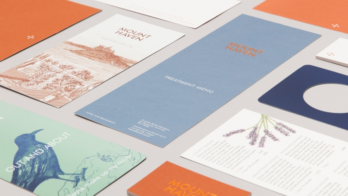 Printed materials for Mount Haven Hotel, including restaurant menus and do-not-disturb signs.