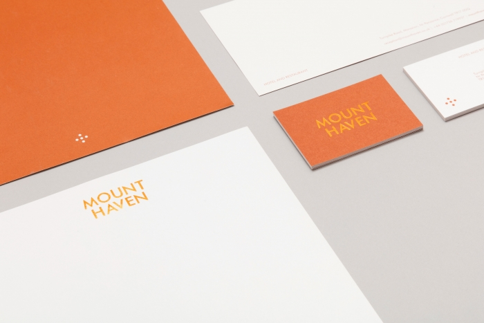 Stationery for Mount Haven Hotel, with copper foil blocking.