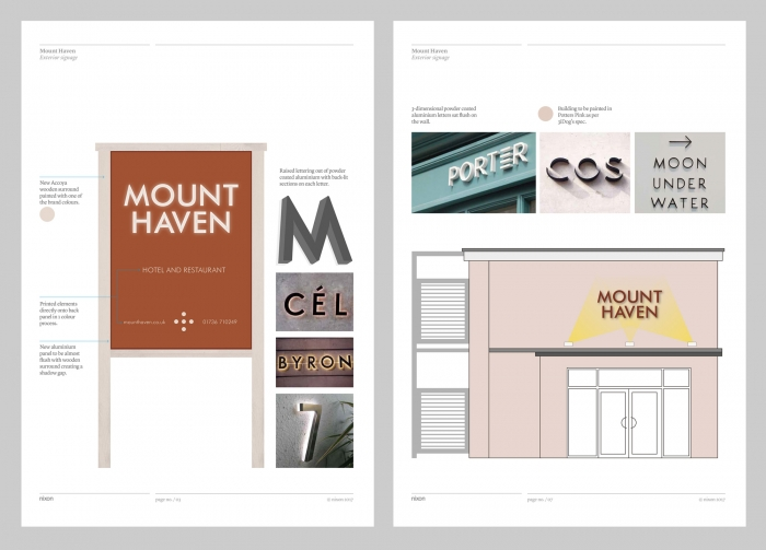 The specification for the signage, with illustrations and photos of existing signage for inspiration.