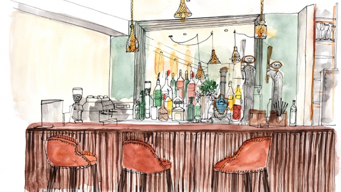 A watercolour illustration of a hotel bar, with three barstools.