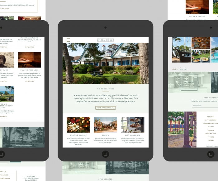 A mock-up showing the Knoll House hotel website on a tablet.