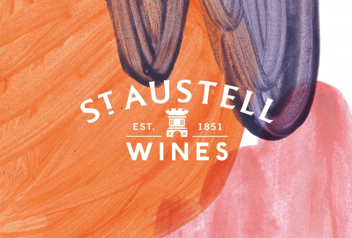 The St Austell Wines logo on a painted background.