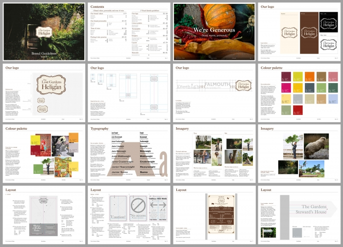 A grid showing pages from The Lost Gardens of Heligan brand guidelines.