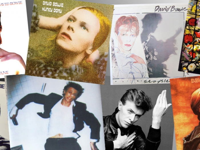 A grid showing different images of David Bowie.