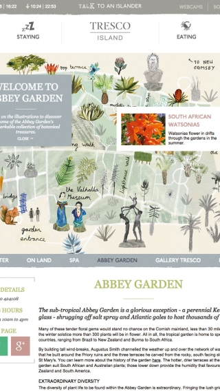 The Tresco Abbey Garden website page mocked up on tablet.