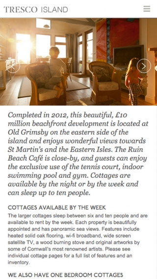 A page from the Tresco website mocked up on iPhone.