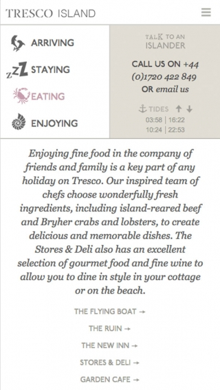 The food page from the Tresco Island website, mocked up on mobile.