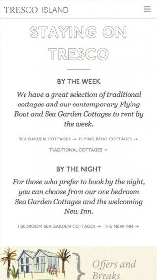 The 'Staying on Tresco' page from the Tresco website, mocked up on mobile.