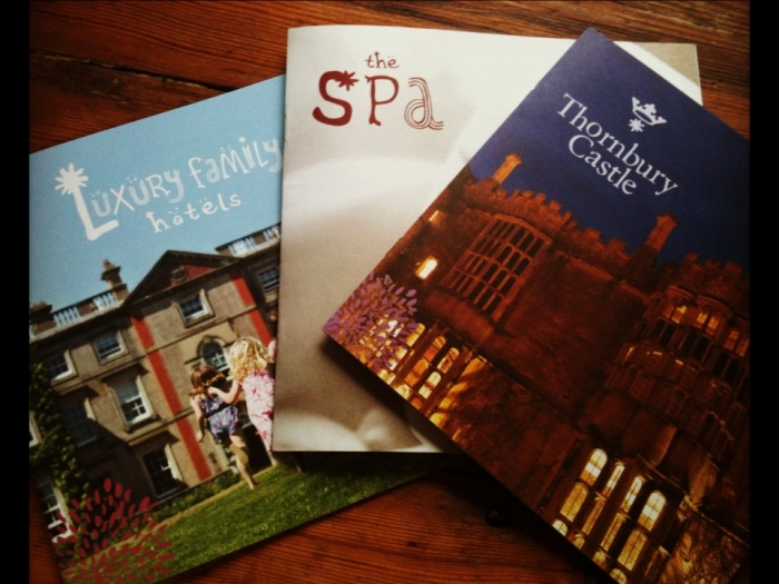 Three hotel brochures: Luxury Family Hotels, a hotel spa and Thornbury Castle.