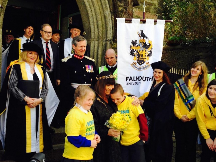 Dawn French, Anne Carlisle and others from Falmouth University at a ceremony.