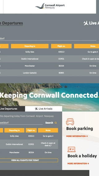The tablet display of the Cornwall Airport Newquay website departures board, designed and built by Nixon