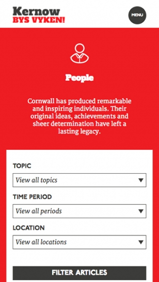 The mobile view of the Cornwall For Ever! website, designed and built by Nixon