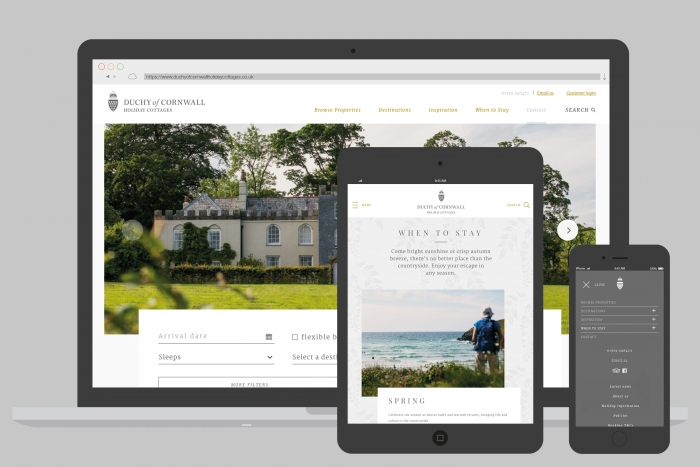 The responsive website design for Duchy of Cornwall Holiday Cottages, designed and built by Nixon