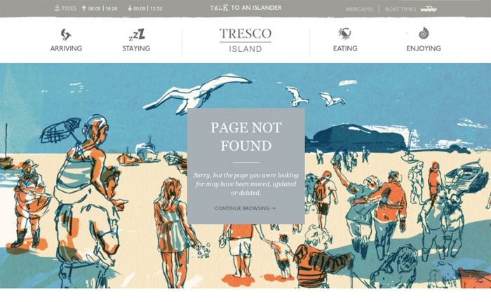 The 404 error page on the Tresco Island website, featuring an illustration of people on the beach.