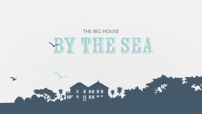 A silhouette of The Rosevine hotel, with 'The big house by the sea' written above it.