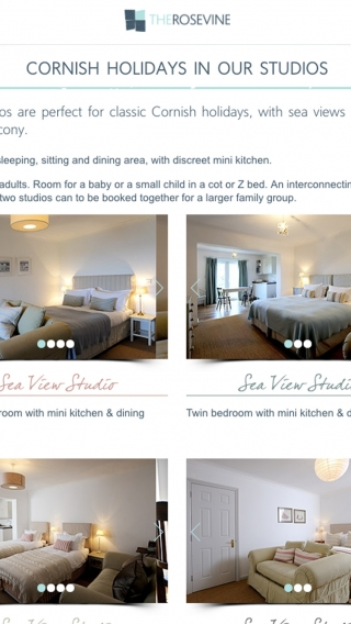 A page from The Rosevine hotel website showing studio rooms, mocked up on iPad.
