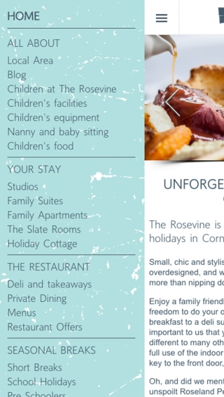 The Rosevine website navigation mocked up on mobile.