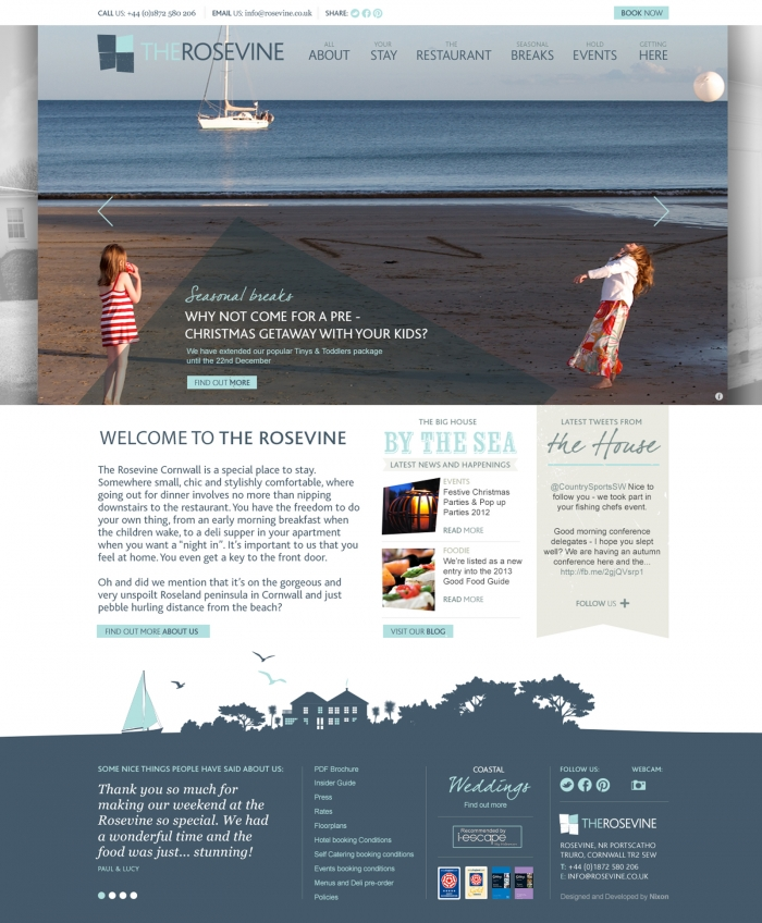 The Rosevine website homepage.