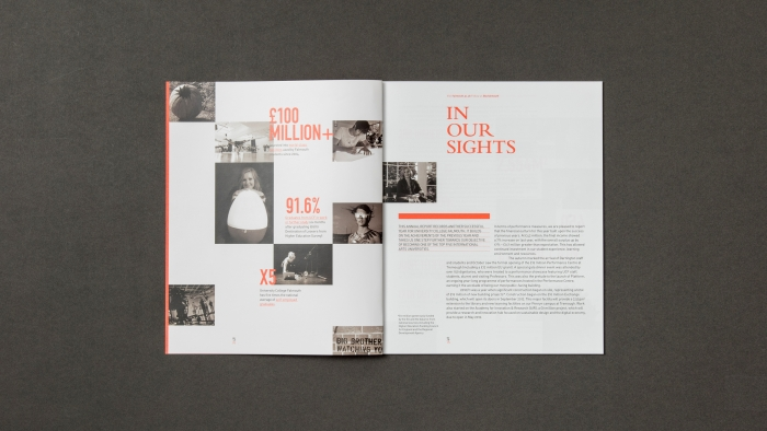 A double spread from the Falmouth University annual report.