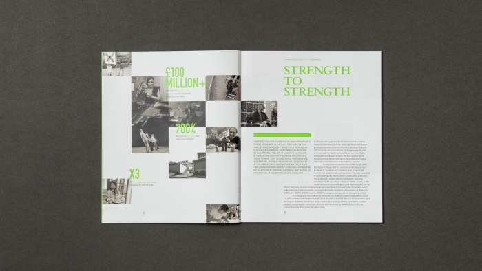 A double spread titled 'Strength to strength' in the Falmouth University annual report.