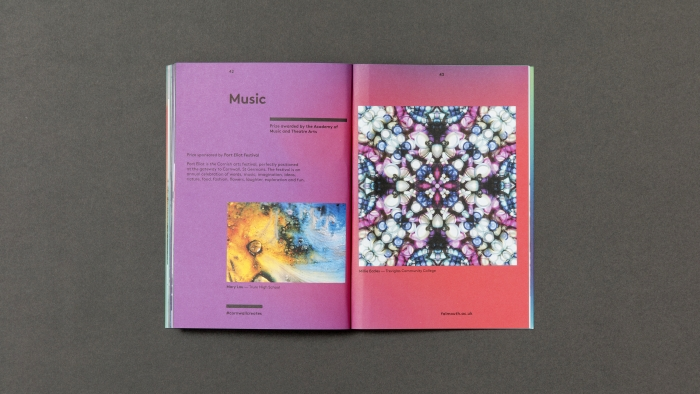 A spread titled 'Music' in Falmouth University's CreatEd magazine, with pictures of a kaleidoscope.