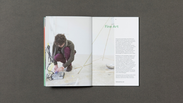 A spread titled 'Fine Art' in the Falmouth University CreatEd magazine, with a photo of a man rigging an art installation.