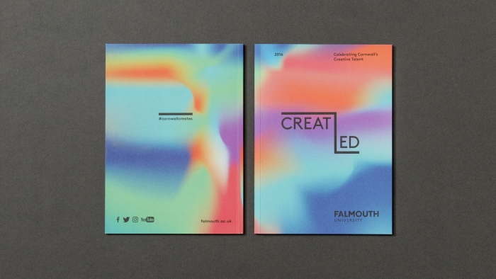 The front and back covers of Falmouth University's CreatEd magazine.
