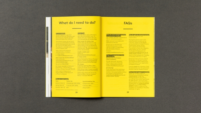 The 'What do I need to do?' and FAQ pages inside the Falmouth University freshers' guide.