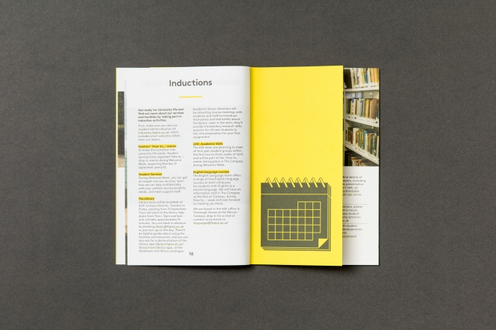 A page on inductions with an icon of a calendar from the Falmouth University freshers' guide.