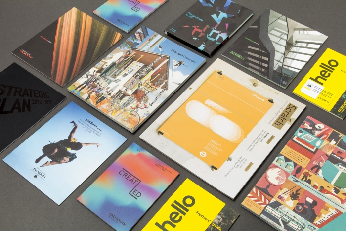 A range of printed materials for Falmouth University.