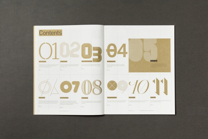 The table of contents from Falmouth University's Scratch magazine, with numbers from different typefaces.