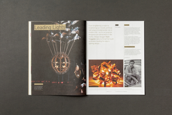 A spread on lighting in the Falmouth University Scratch magazine.