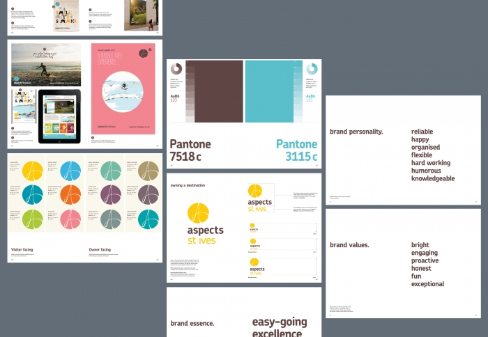 The Aspects Holidays brand guidelines, including colourways, brand values and the logo.