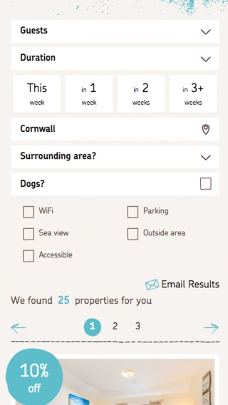 A property search section on the Aspects Holidays website, mocked up on iPhone.