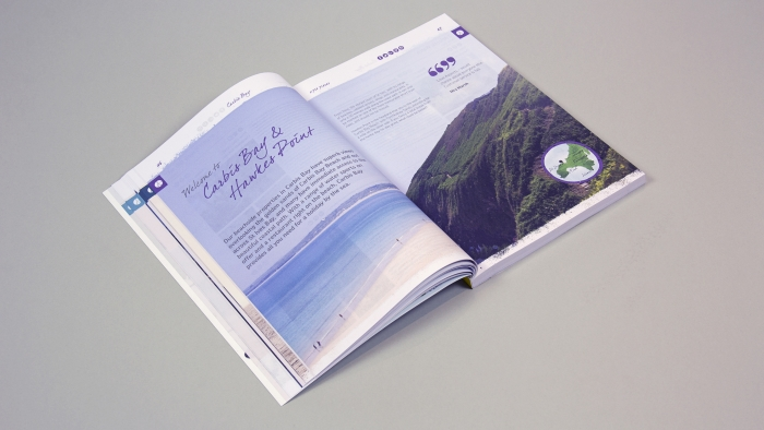 A two-page spread with an image of Carbis Bay Beach in the Aspects Holidays brochure.