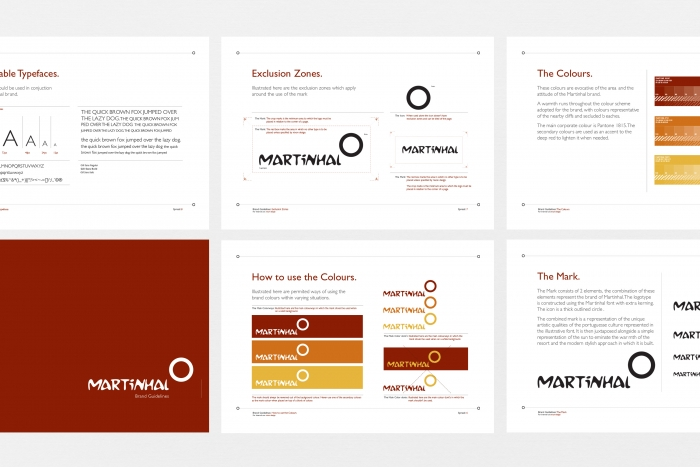 Pages from the Hotel Martinhal brand guidelines.