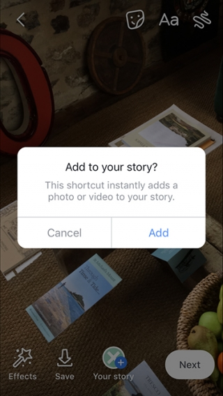 Share shortcut on Facebook Stories