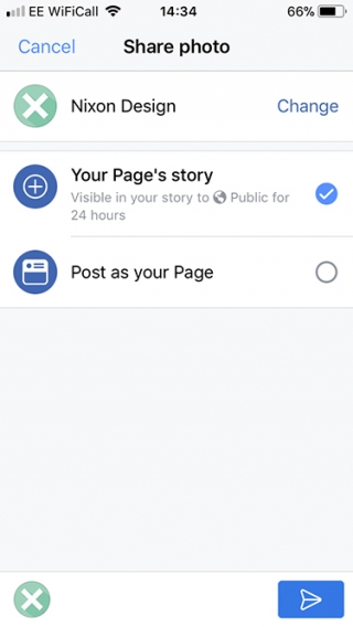 Share options for Facebook stories