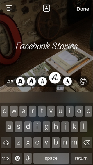 Adding text to a Facebook story