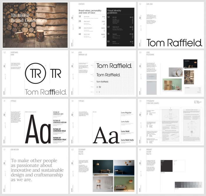 The Tom Raffield brand guidelines, including typography and logo by Nixon Design.