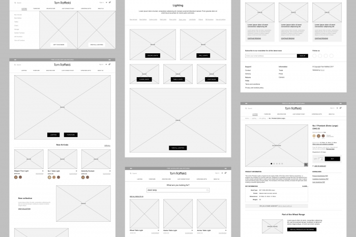 The wireframes for the Tom Raffield website by Nixon Design.