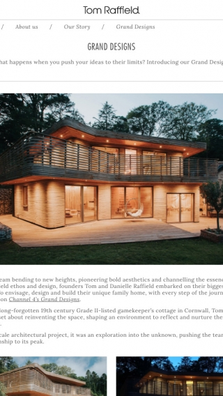 The Tom Raffield website, featuring their house from Grand Designs, mocked up on tablet.