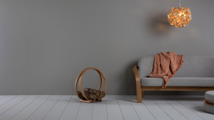 Tom Raffield products: a sofa, a light shade and a log loop.