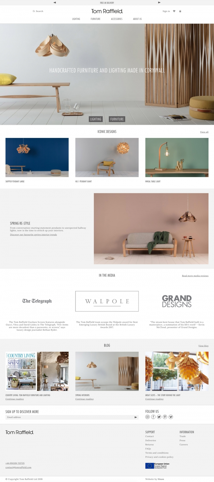 The Tom Raffield website homepage by Nixon Design.