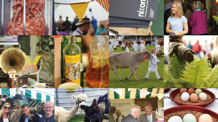 A grid of photos from the Royal Cornwall Show, including Nixon team members, animals and flowers.