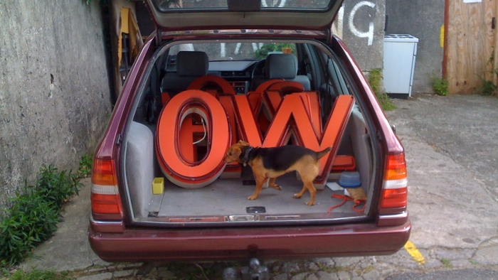 The neon letters froma  Woolworths sign and a dog in a car boot.