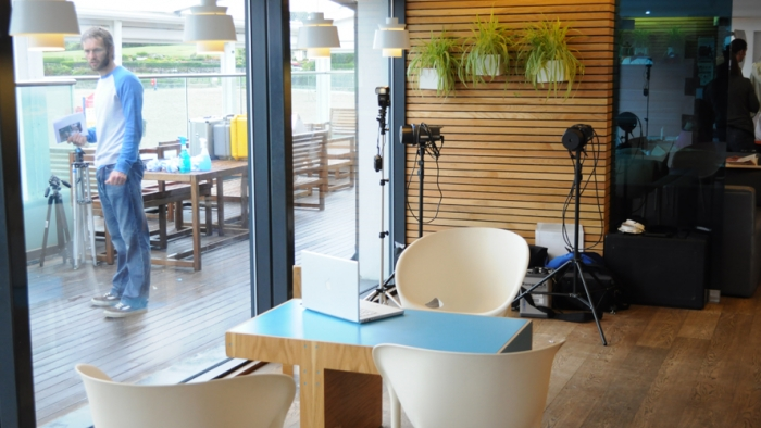 A café with photographic equipment set up around it.