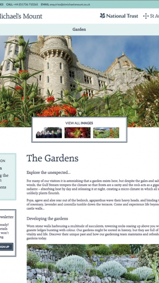 The St Michael's Mount website gardens page mocked up on tablet.