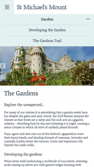 The gardens page on the St Michael's Mount website, mocked up on mobile.